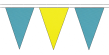 SKY BLUE AND YELLOW TRIANGULAR BUNTING - 10m / 20m / 50m LENGTHS